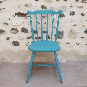 atelier kt lélé-Chaise western bleu canard